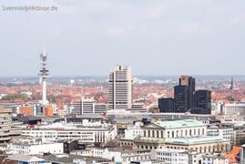 Hannover City (Blick vom Rathaus in Richtung Bahnhof)